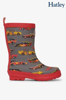 Hatley Grey Classic Race Cars Matte Rain Boots