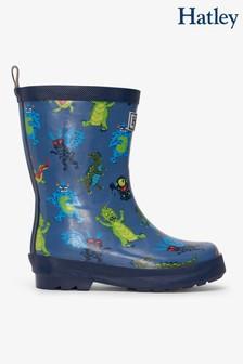 Hatley Blue Creepy Cryptids Shiny Rain Boots