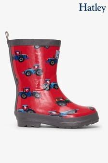 Hatley Red Farm Tractors Shiny Rain Boots
