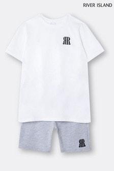River Island White T-Shirt And Shorts Set