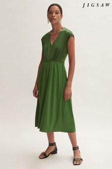 Jigsaw Green Silk Front Ruched Waist Dress