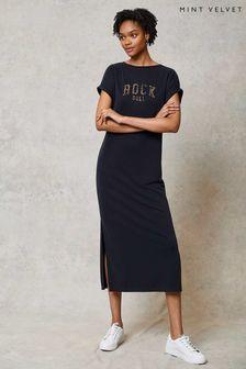 Mint Velvet Grey Rock T-Shirt Midi Dress