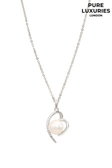 Pure Luxuries London Aurora Rhodium Plated Silver & Freshwater Pearl Necklace