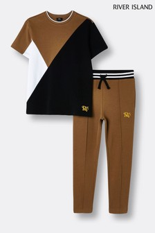 River Island Brown Light Blocked T-Shirt And Joggers Set