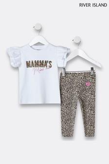 River Island White Mamas Bestie T-Shirt and Leggings Set