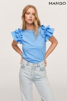Mango Blue Ruffled Sleeve T-Shirt