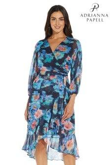 Adrianna Papell Black Printed Chiffon Wrap Dress