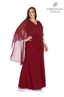 Adrianna Papell Plus Beaded Jersey and Chiffon Gown