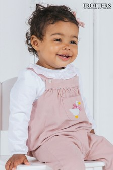 Trotters London Pink Jemima Dungarees