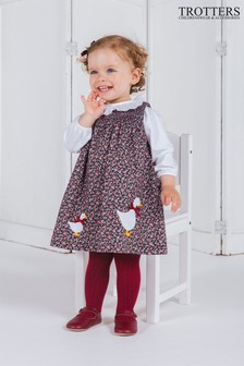 Trotters London Blue Jemima Floral Smocked Pinafore