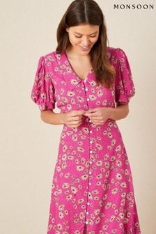Monsoon Pink Sonya Floral Shirt Dress