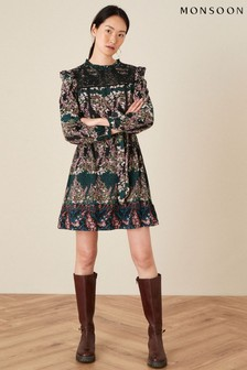 Monsoon Black Embroidered Chest Printed Dress
