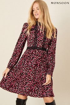 Monsoon Pink Spot Print Lace Trim Dress