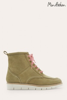 Boden Khaki Green Seam Detail Lace-Up Boots
