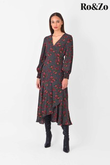 Ro&Zo Womens Black Rose Spot Tie Waist Dress