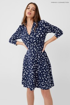 French Connection Blue Bonita Meadow Jersey V-neck Dress