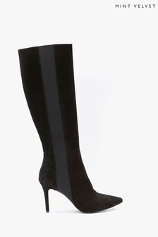 Mint Velvet Mel Black Suede Long Boots