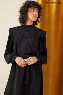 Monsoon Black Victoriana Lace Trim Dress