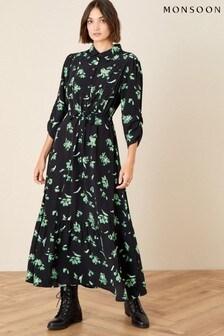 Monsoon Black Embellished Floral Midi Dress