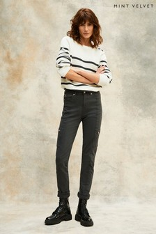 Mint Velvet Houston Grey Slim Zipped Jeans