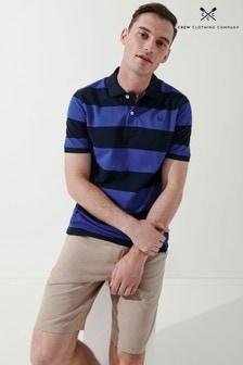 Crew Clothing Company Blue Heritage Stripe Polo Shirt