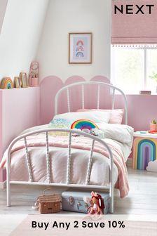 Addison White Metal Bed