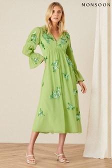 Monsoon Green Helena Sequin Floral Midi Dress