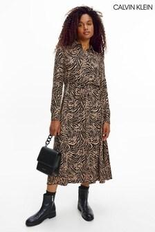 Calvin Klein Camel Viscose Midi Shirt Dress