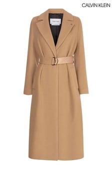 Calvin Klein Camel Essential Wool Wrap Coat