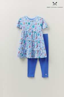 Crew Clothing Company Blue Shell Print Tiered Tunic And Legging Set