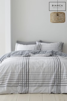 Bianca Grey Grid Check Egyptian Cotton Duvet Cover and Pillowcase Set