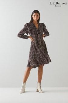 L.K.Bennett Womens Brown Elizabeth Tie Front Polka Dot Dress