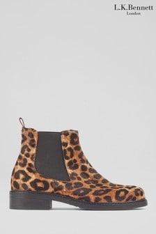 L.K.Bennett Animal Claudia Flat Stitch Ankle Boots