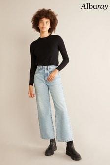Albaray Womens Blue Wide Leg Bleach Wash Jeans