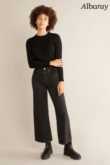 Albaray Womens Black Wide Leg Jeans