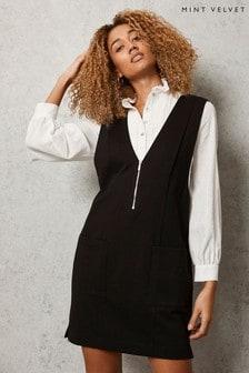 Mint Velvet Black Pinafore Mini Dress