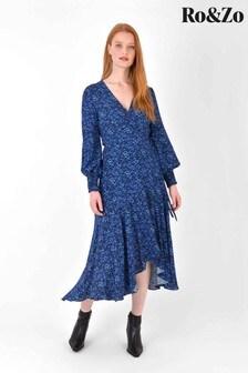 Ro&Zo Blue Ditsy Tie Waist Dress