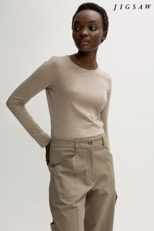 Jigsaw Brown Supima Cotton Long Sleeve T-Shirt