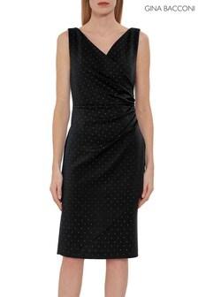 Gina Bacconi Black Tessie Stud Wrap Dress
