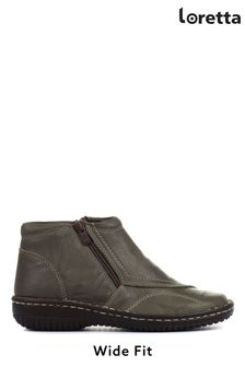 Loretta Ladies Green Wide Fit Leather Ankle Boots