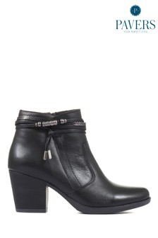 Pavers Ladies Leather Heeled Ankle Boots