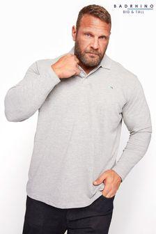 BadRhino Marl Essential Long Sleeve Polo Shirt