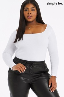 Simply Be Square Neck Ribbed Long Sleeve Top