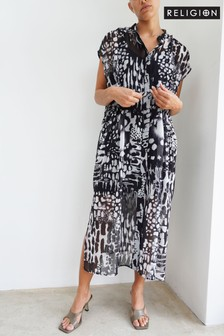 Religion Midi Shirt Dress With Tie Belt Detail In Animal Print