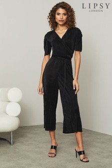 Lipsy Plisse Ruched Sleeve Jumpsuit