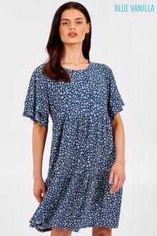 Blue Vanilla Double Frill Slv Smock Dress