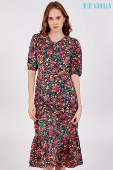 Blue Vanilla Puff Short Slv Flower Print Frill Dress
