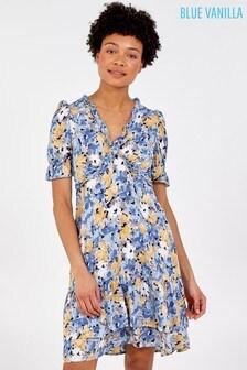 Blue Vanilla Frill V Neck Tiered Mini Dress