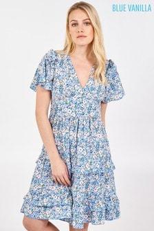 Blue Vanilla Frill Details V Neck Angel Slv Tiered Dress