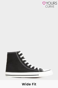 Yours Canvas High Top Trainer in Wide Fit